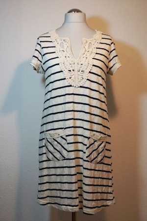 Yumi Sukienka o kroju litery A jasnobeżowy-ciemnoniebieski Poliester