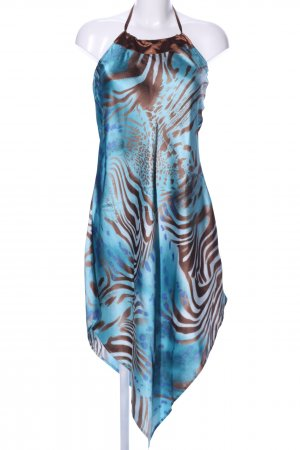 Nougat London Neckholderkleid blau-braun abstraktes Muster Casual-Look