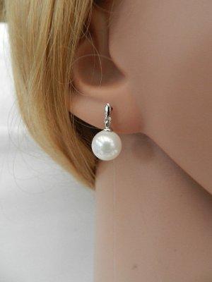 Boucles d'oreilles en perles argenté-blanc