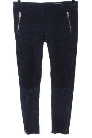 Nove Pantalon en cuir bleu-noir imprimé allover style décontracté