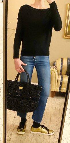 NP 119€, Liu Jo wunderschöner Pullover, schwarz, Perlen, Gr It. 38 (34 36 xs s dt.)