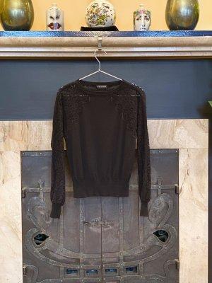 NP 149€, TwinSet Luxus Pullover, aktuell, Schwarz, Spitze, Größe S (auch XS und M)