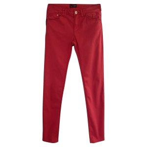 NP 160€ wie Neu Damen Armani Figurbetonte Stretch Jeans Röhrenjeans Hose Rot Baumwolle 34 S