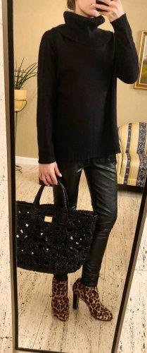NP 189€, Twin Set Luxus Pullover, Schwarz, mit Top aus Spitze, Gr. XS (auch S und M)