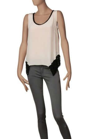 NP 190€!!! Neu C'N'C Costume National Seiden Top Nude Weiß Schwarz Bluse Tunika Oberteil S 34