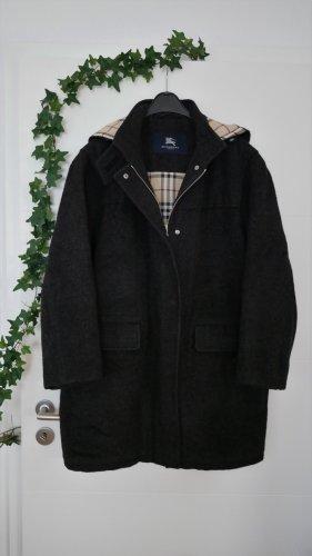 NP:2200€ Burberry Wintermantel Damen Luxus Gr44/46 schwarz Wollmantel Mantel Kapuze Check Alpaka