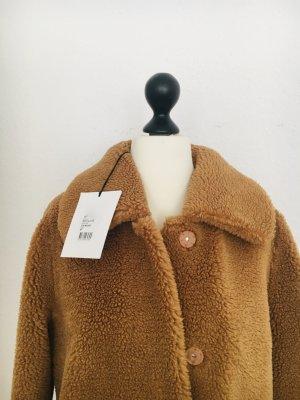 Stand Płaszcz ze sztucznym futrem Wielokolorowy Tkanina z mieszanych włókien