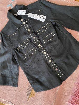 Ganni Blusa in lino nero