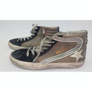Golden Goose Chaussure skate noir-blanc cassé tissu mixte