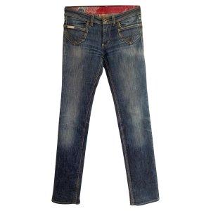 NP 420€ Dolce & Gabbana Figurbetonte Stretch Jeans Röhrenjeans Hose Stretch D&G 34 36 Blau Baumwolle