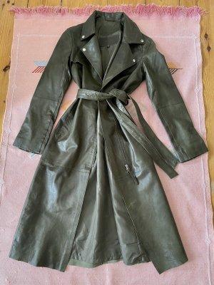 Cigno Nero Manteau en cuir vert olive-kaki cuir