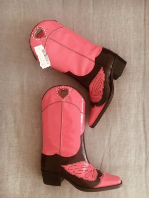 Ganni Boots western rose-rose fluo cuir