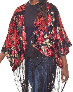 NP 59,95 € NEU und Originalverpackt Gr. L-XL 40-42 Laura Scott geblümter Damen Fransen-Poncho in Kimono-Form trendstarker Poncho mit locker fallenden Fransen angenehmer Tragekomfort dank hochwertiger Verarbeitung die Fransen machen den Poncho zu einem ech