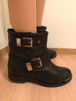 NP 625€ Elisabetta Franchi Echtleder Flat Ankle Combat Biker Buckle Boots Schuhe Stiefeletten