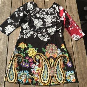 Desigual Kleid Shirtkleid Gr M Sommerkleid Sommer Blumen schwarz rot gelb NEU