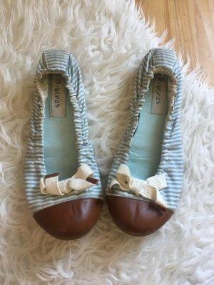 NP100€ Bivelinas Ballerinas blau weiß gestreift Schleife Schuhe