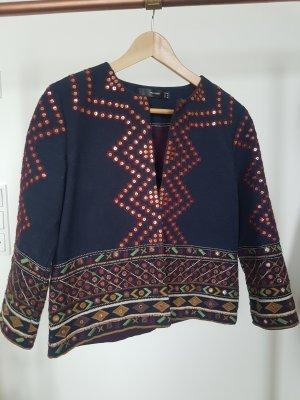 NP150€ Hallhuber bestickter Blazer Jacke Embroidered Pailetten Boho XS S, Stylisch Chic Marant