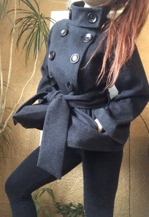 NP179€ ZARA Luxus Wollmantel Mantel 100%Wolle S-34-36-GRAU