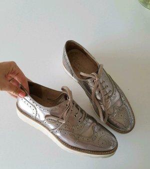 NP199€ Pertini Trend Metallic Leder Schuhe Schnürer Roségold Taupe Bronze Budapester Loafer