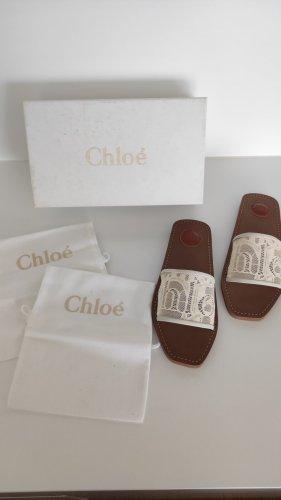 NP300€ Chloé Woody Slides Sandalen 39 Nude Offwhite Edel Logo