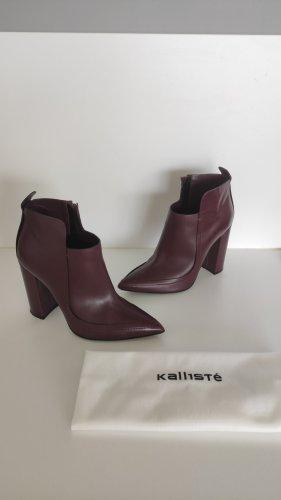 NP439€ Kallisté Designer Boots Stiefelette Burgundy Bordeaux Wine Leder Absatz 10cm Elegant
