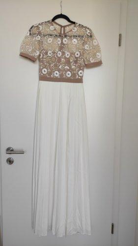 NP500€ Self-Portrait Hochzeitskleid Standesamt Weiß Nude Pailetten Plissee Strass Edel Maxikleid Offwhite Designer