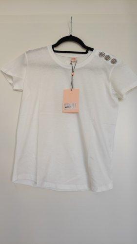 NP60€ Custommade T-Shirt mit Glitzer Knöpfen als Highlight, Organic Cotton Baumwolle XS Designer Hochwertige Basic