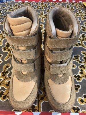 Nude farbene Leder-Wedges, 38, ledergefüttert, Sneaker