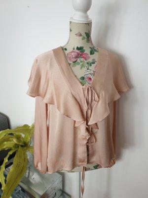 Nude/goldene Bluse mit Rüschen von Topshop