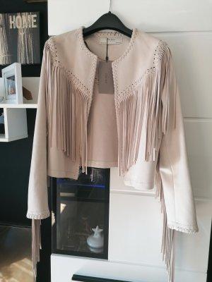 Nude Jacke von Zara Neu Jacke mit Fransen Größe M