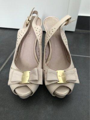 Barbara Cantarini Peep Toe Pumps gold-colored-cream