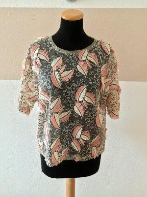 Nude rose Pailetten Netz Bluse von Zara, Gr. S (NEU)