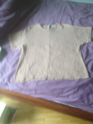 Nudefarbene Bluse mit Stickerei