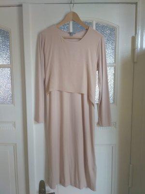 Nudefarbenes Kleid mit Binde-Details