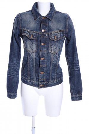 Nudie jeans Jeansjacke blau Casual-Look