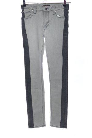 Nudie jeans Straight-Leg Jeans hellgrau-schwarz Casual-Look