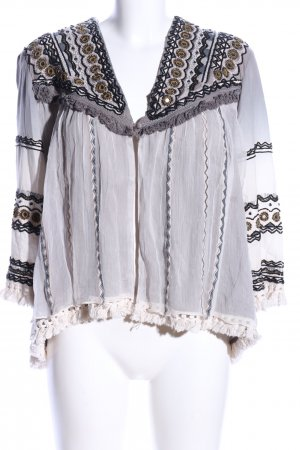 NÜ Denmark Blouse Jacket light grey-natural white graphic pattern casual look
