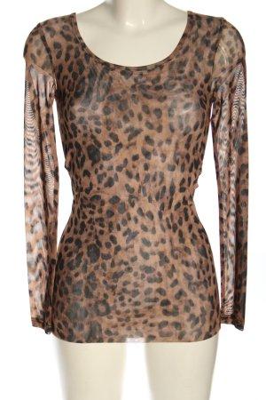 NÜ Denmark Camisa de malla marrón-negro estampado de leopardo look casual