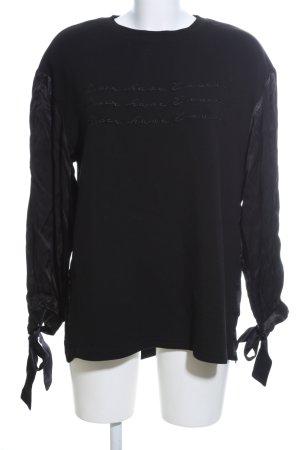 NÜ Denmark Sweatshirt schwarz Schriftzug gedruckt Casual-Look