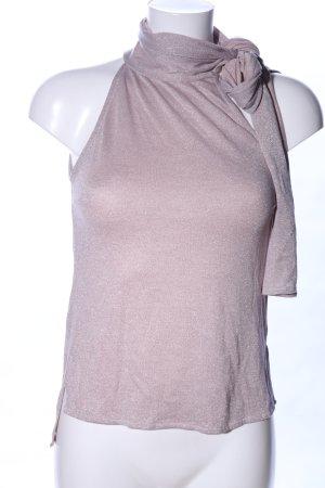 nü Top de cuello de cisne rosa moteado elegante