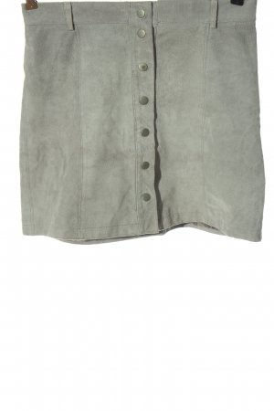 NÜMPF Leather Skirt light grey casual look