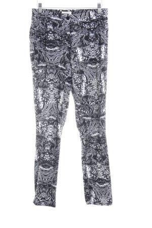 NÜMPF Stoffhose schwarz-weiß abstraktes Muster Casual-Look