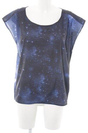 Nümph ärmellose Bluse schwarz-blau Allover-Druck Casual-Look