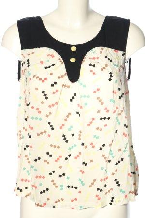 Nümph ärmellose Bluse weiß-schwarz grafisches Muster Casual-Look