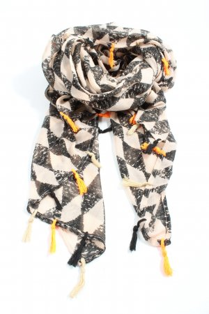 Nümph Fringed Scarf natural white-black check pattern casual look