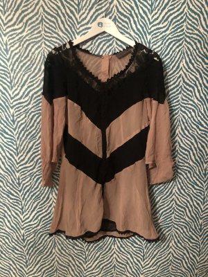 Nümph Kleid 100% Seide silk nude schwarz 34 XS