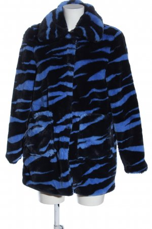 Nümph Giacca in eco pelliccia nero-blu stampa integrale stile casual