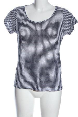 Nümph Blouse à manches courtes bleu-blanc imprimé allover style décontracté