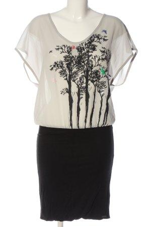 Nümph Kurzarmkleid weiß-schwarz Motivdruck Business-Look