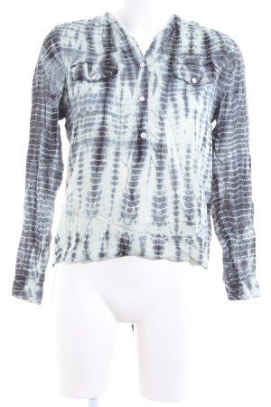 Nümph Langarm-Bluse schwarz-weiß abstraktes Muster Casual-Look